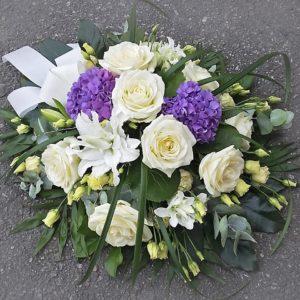 Kukkalaite pyöreä lilavalkoinen