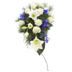 Sinivalkoinen kukkalaite